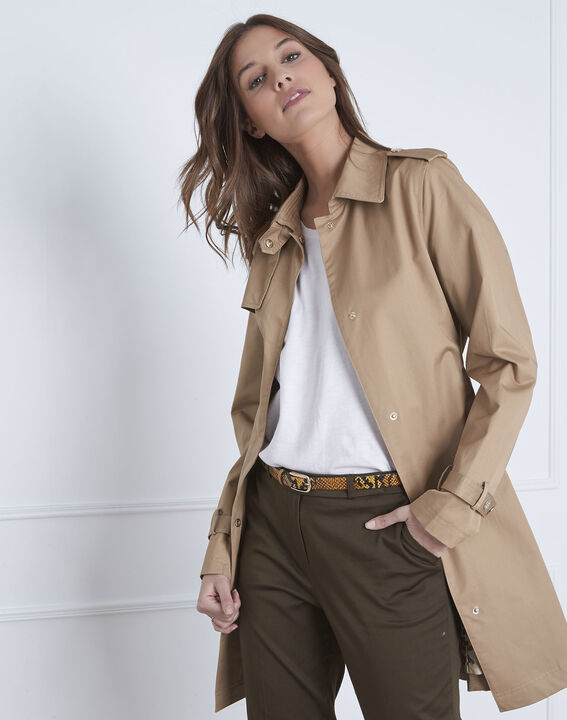 Dune beige straight-cut belted trench coat (2) - Maison 123