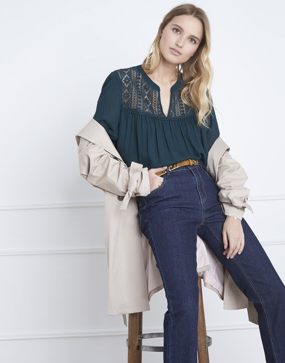 Veracine dark green lace blouse (2) - Maison 123