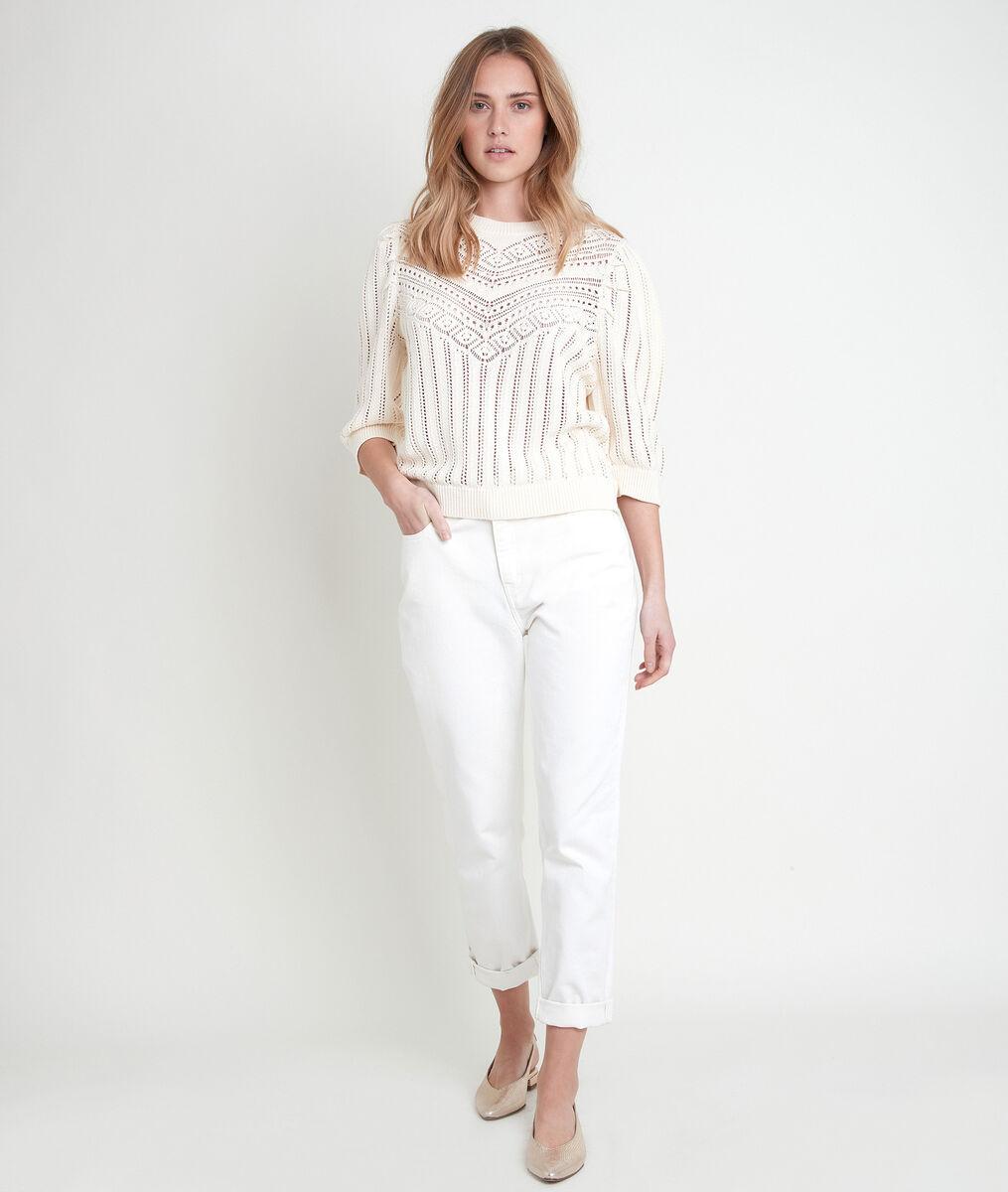 ALTO beige organic cotton openwork jumper PhotoZ | 1-2-3