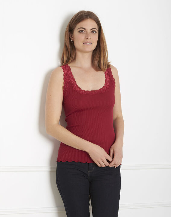 Guest red silk and cotton tank top with lace neckline (2) - Maison 123