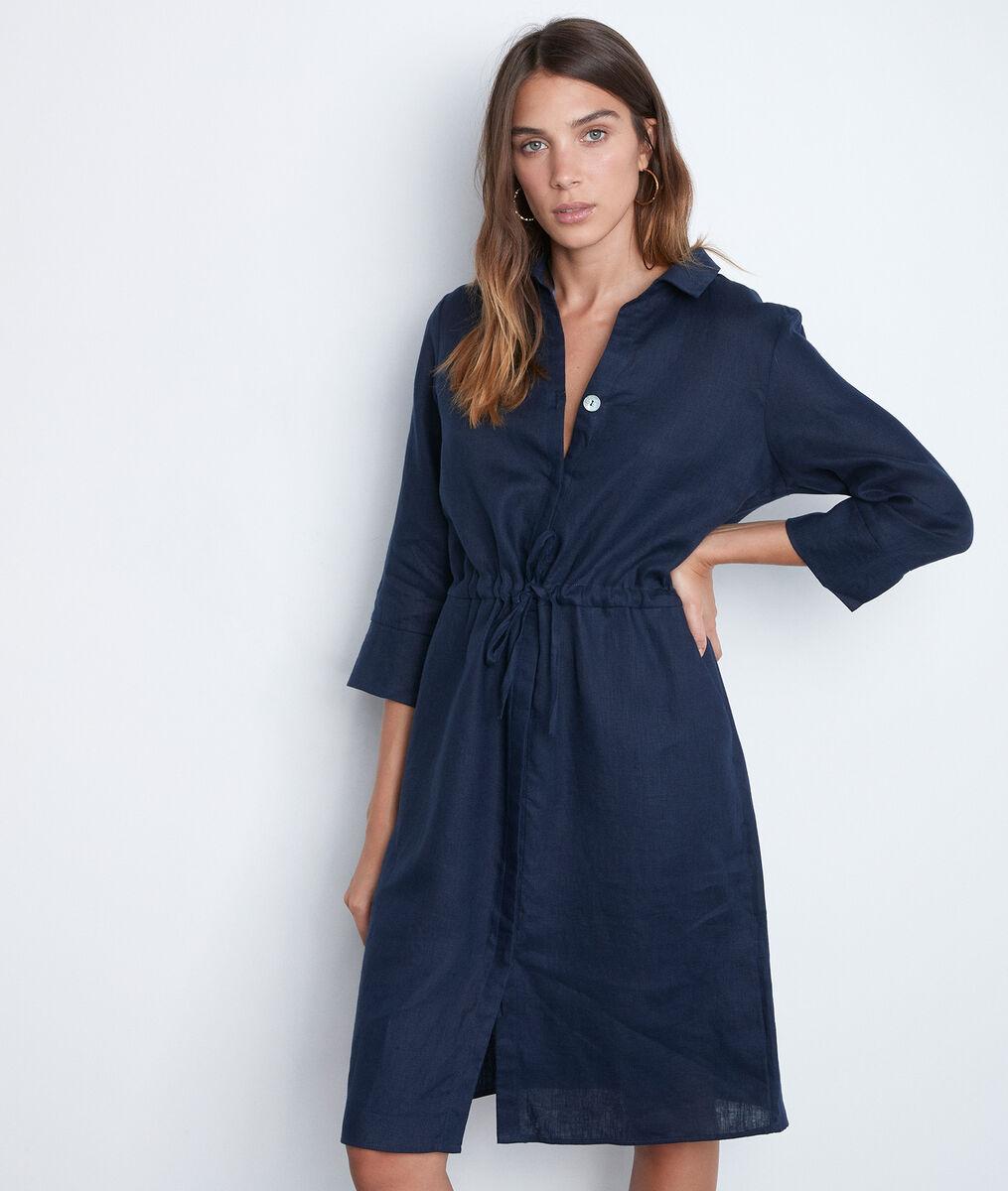 Luna blue certified linen shirt dress PhotoZ | 1-2-3