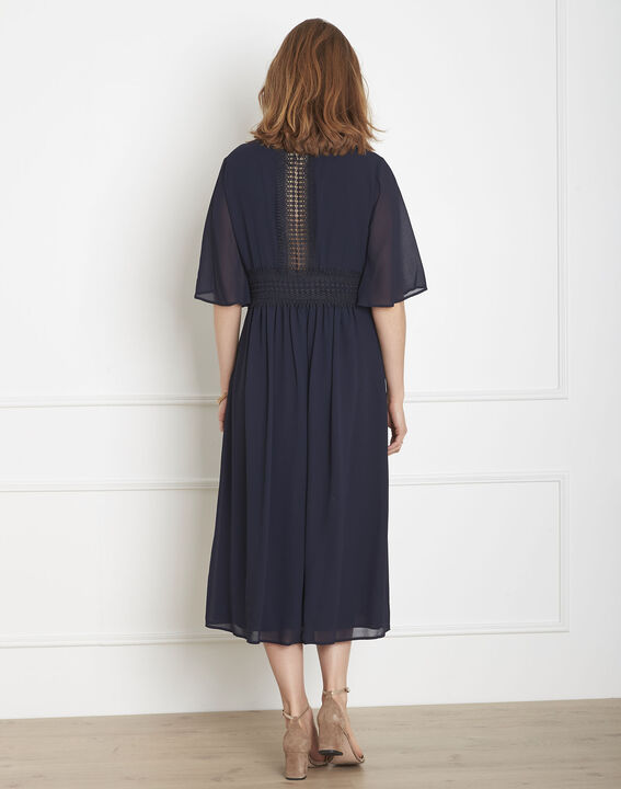Helene navy wrap-over macramé dress (3) - Maison 123