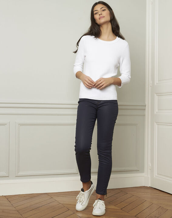 Avocado white pullover with buttons and lurex details (2) - Maison 123