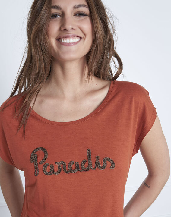 Round collared orange Pippa T-shirt (3) - Maison 123
