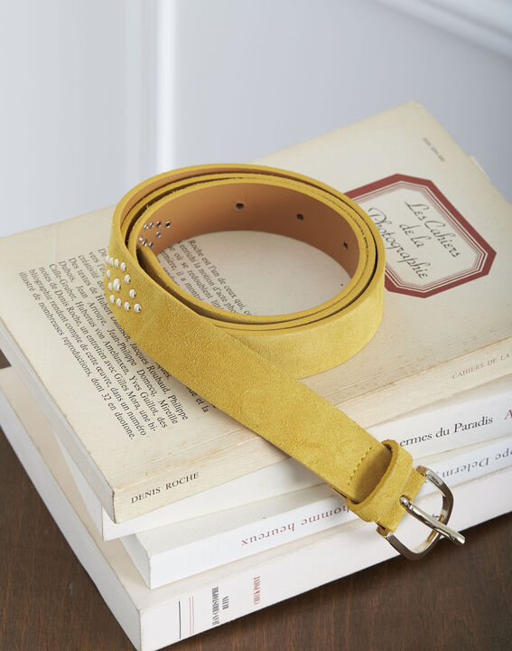 Kalipso yellow suede look leather belt with studs PhotoZ | 1-2-3