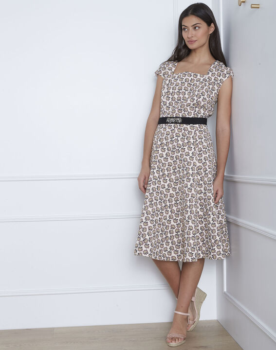 Hortense powder pink jacquard dress with jewelled belt PhotoZ | 1-2-3