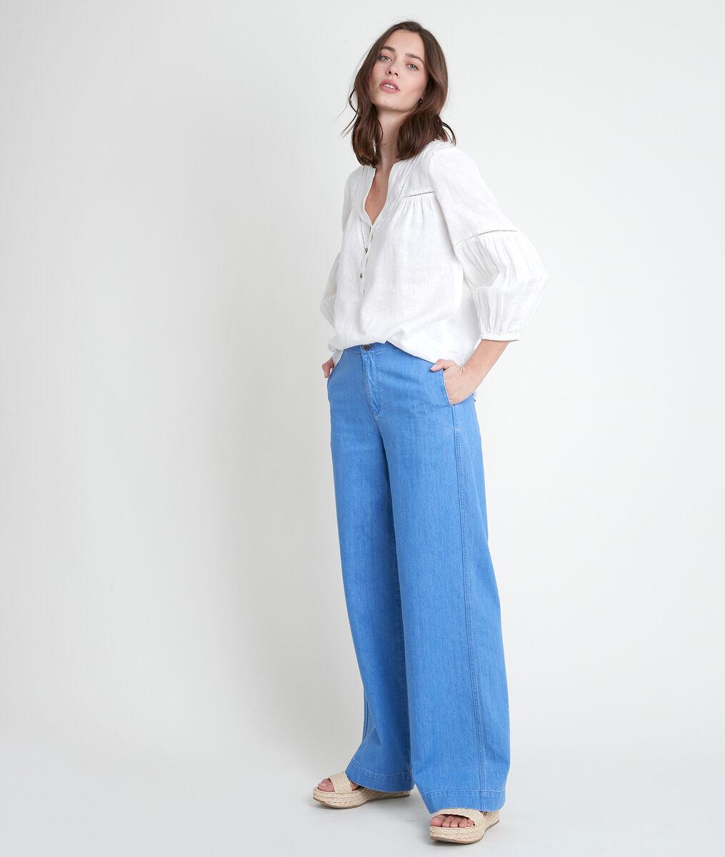 TEVI ecru linen blouse PhotoZ | 1-2-3
