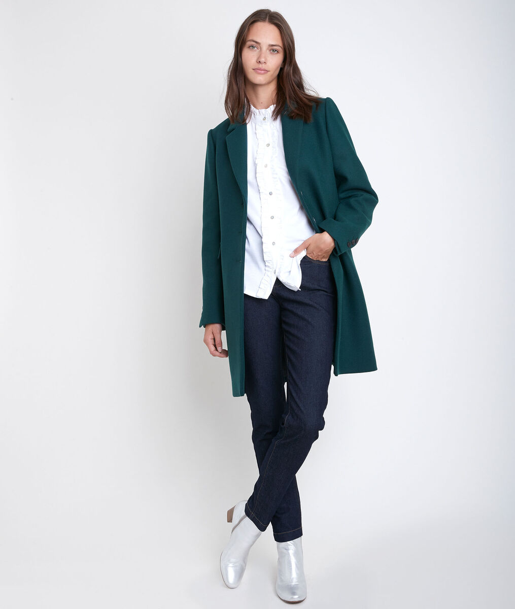 Plume straight emerald wool coat PhotoZ | 1-2-3