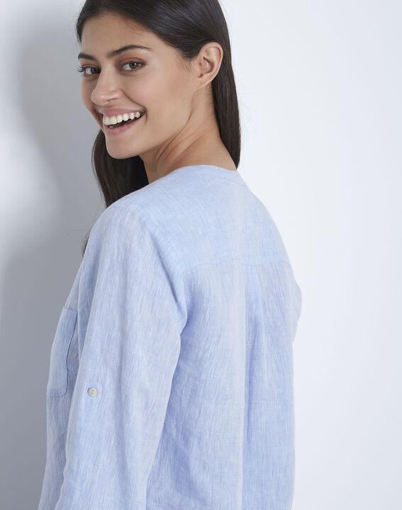 Roma sky blue linen blouse (4) - Maison 123