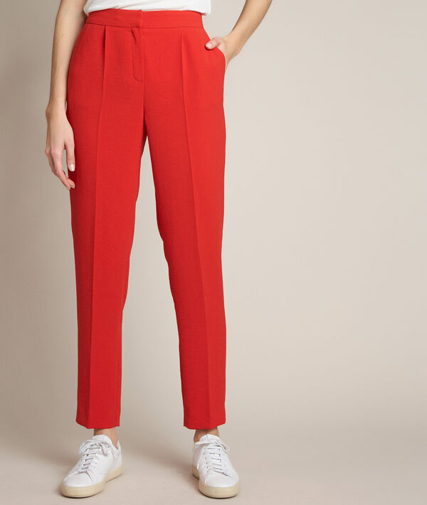 Isaure red crepe trousers PhotoZ | 1-2-3