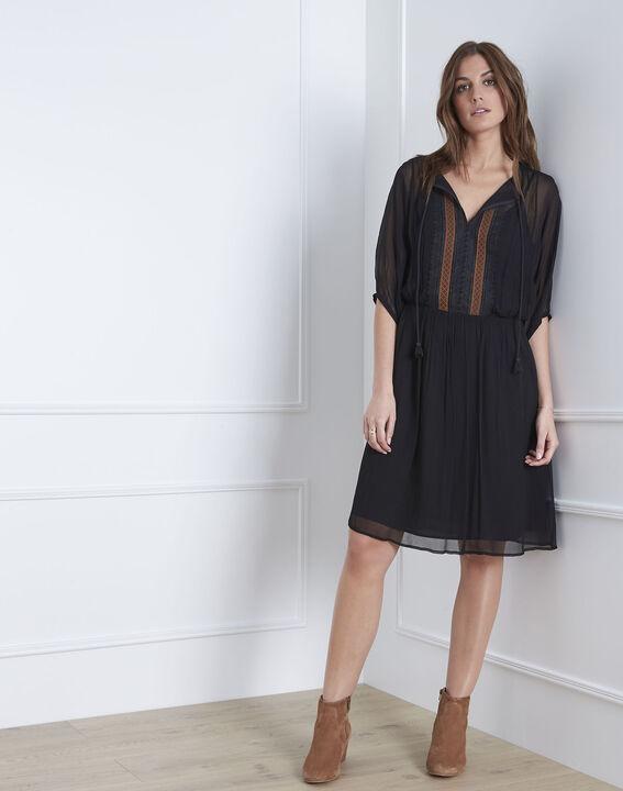 Lotus embroidered black dress PhotoZ | 1-2-3