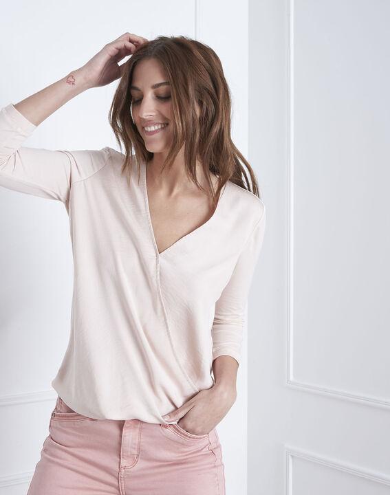 Vanina crossover neckline top bimaterial powdered blouse (1) - Maison 123