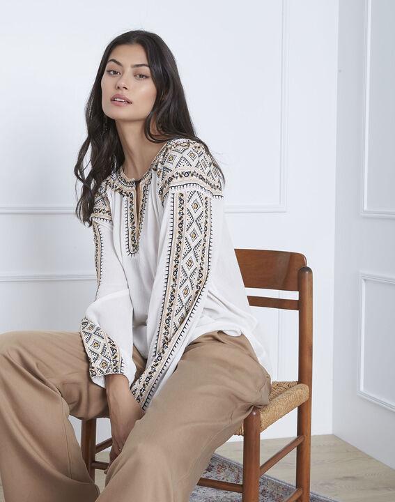 Vahan embroidered ecru blouse (1) - Maison 123