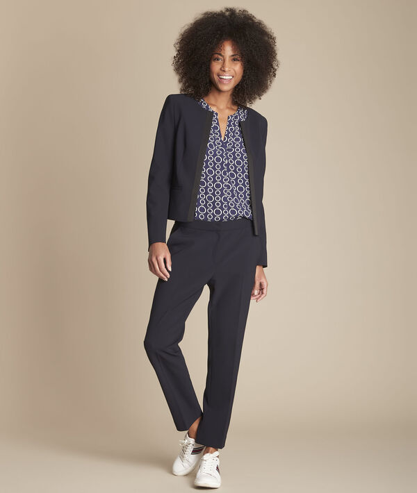 Suzanne navy microfibre cigarette trousers PhotoZ | 1-2-3