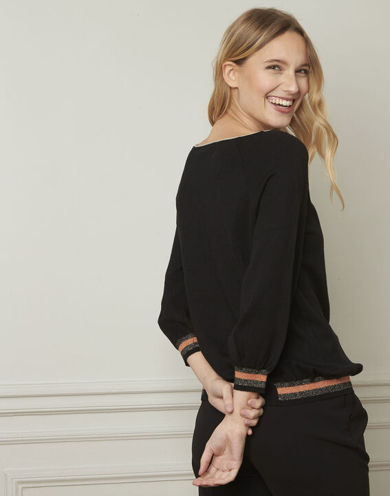 Amarante black sporty style pullover with lurex details (3) - Maison 123