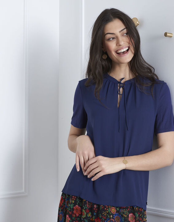 Viola navy blouse with laced neckline PhotoZ | 1-2-3