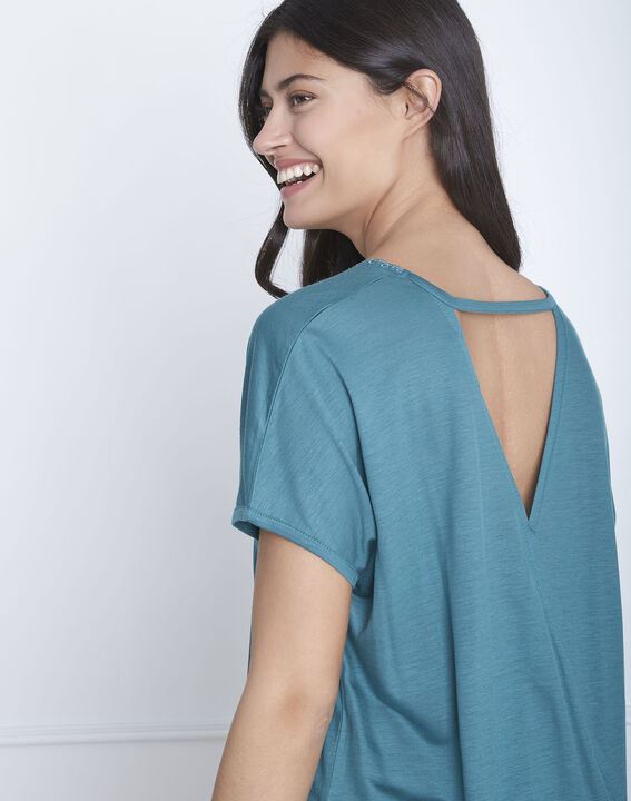 Papaye green T-shirt with lace neckline (4) - Maison 123