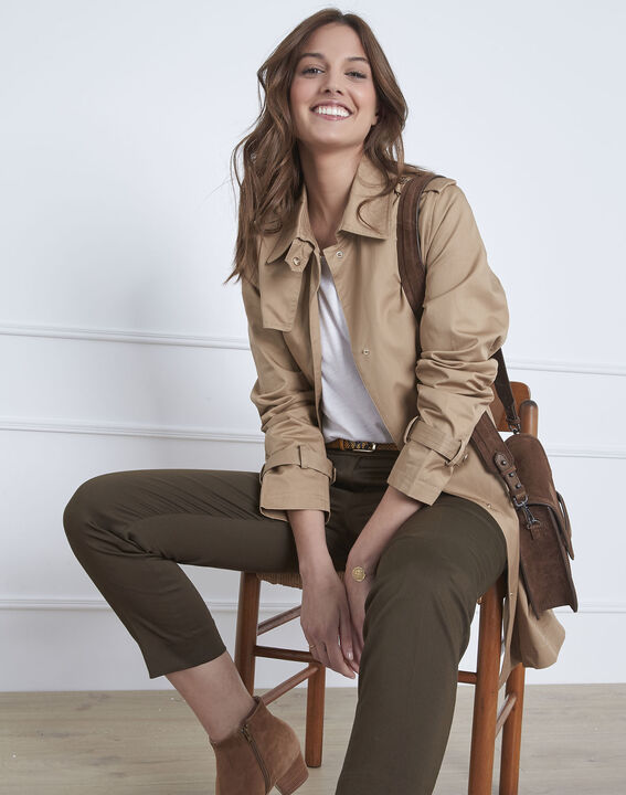 Dune beige straight-cut belted trench coat (1) - Maison 123