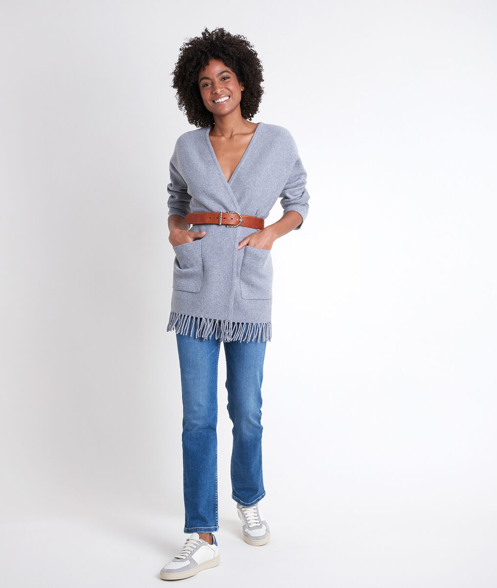 ROXIE grey knitted jacket with tassels PhotoZ | 1-2-3