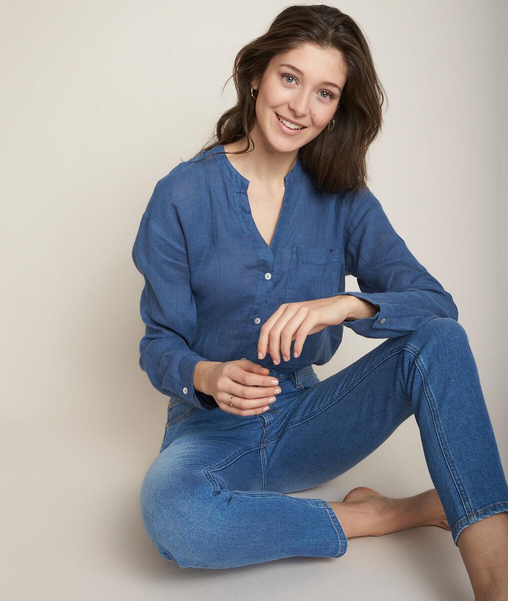 Emeline indigo linen shirt PhotoZ | 1-2-3