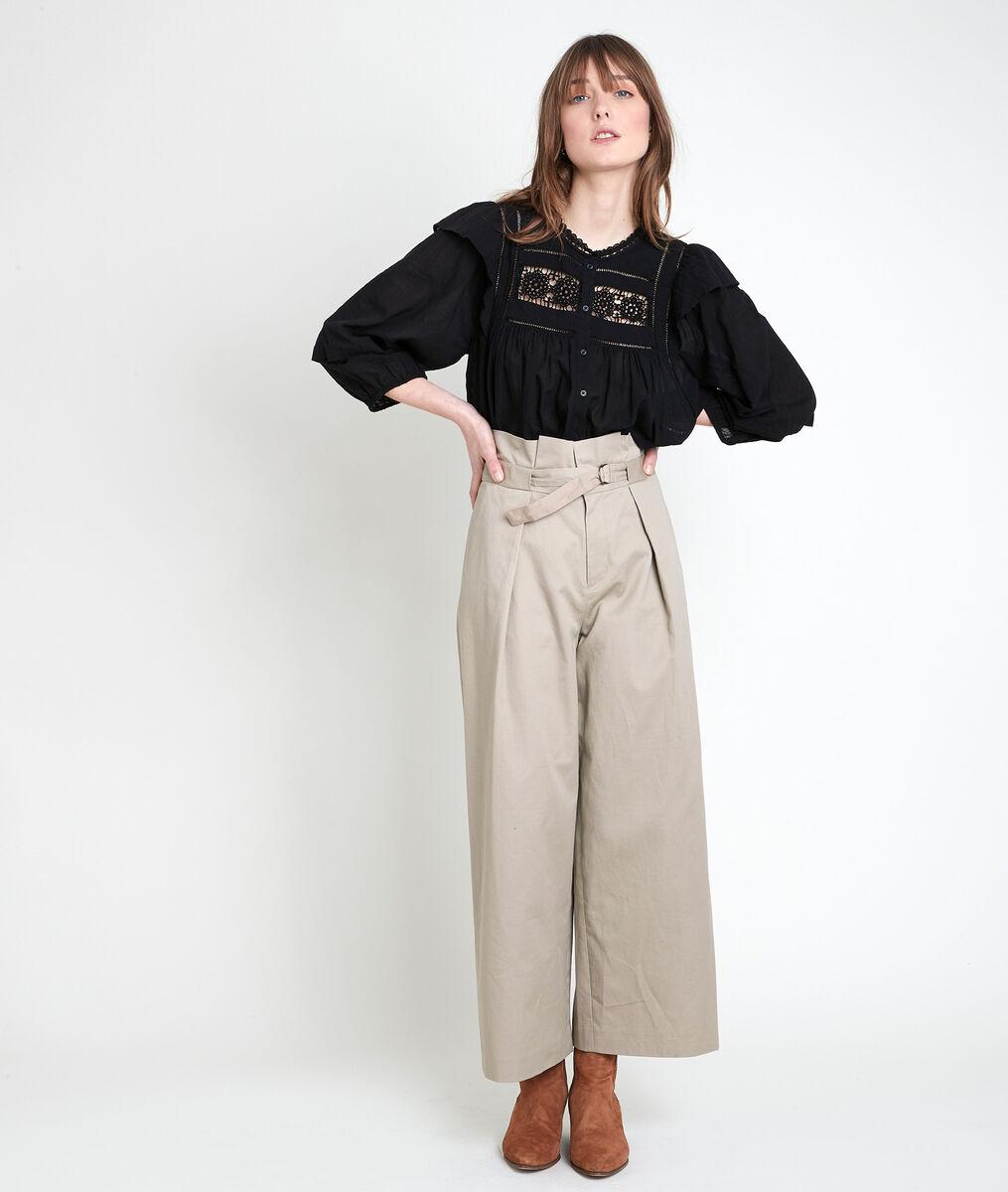 TALIA black cotton lace blouse PhotoZ | 1-2-3