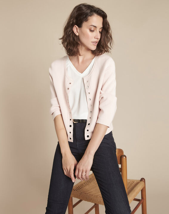 Abricotier powder pink cropped cardigan with eyelet details PhotoZ | 1-2-3