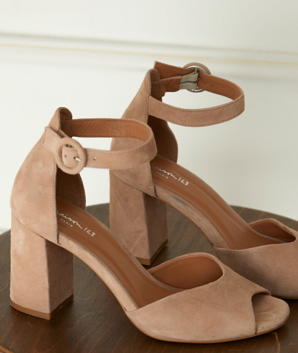 Jade nude leather high-heeled sandals PhotoZ | 1-2-3