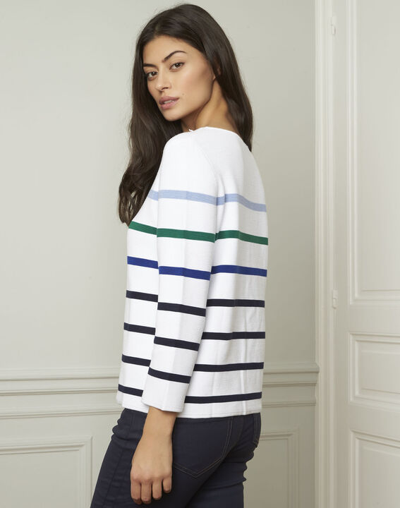 Nacadamia white viscose blend pullover with coloured stripes (3) - Maison 123