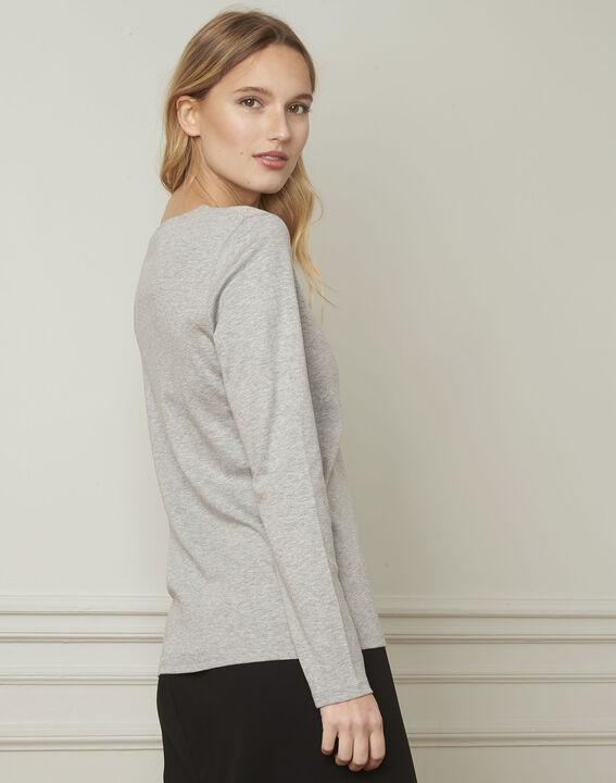 Etincelante grey lurex V-neckline T-shirt (3) - Maison 123