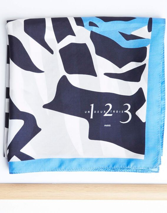Angel blue graphic floral printed square scarf in silk PhotoZ | 1-2-3