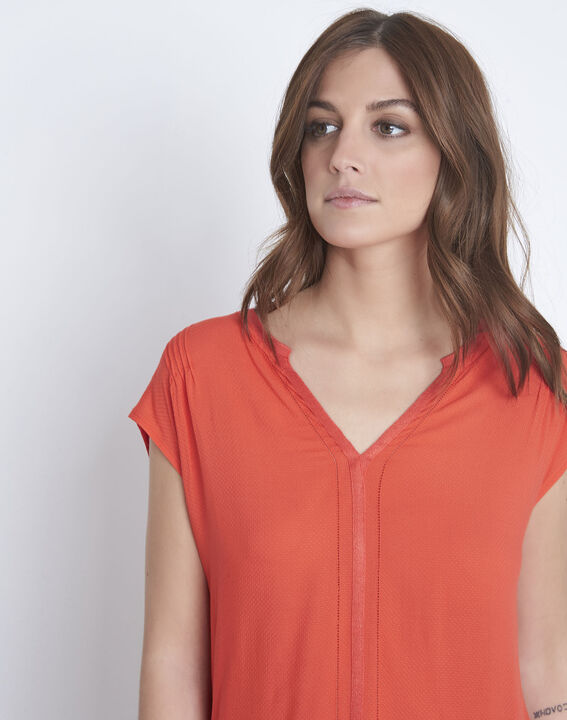 Vanissa red dual-fabric blouse (3) - Maison 123