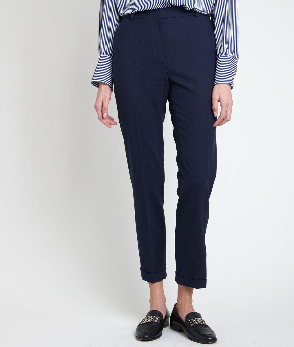 Felix navy piqué cigarette-cut trousers PhotoZ | 1-2-3