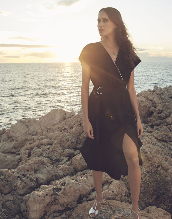 Hodda black asymmetric wrap dress (1) - Maison 123