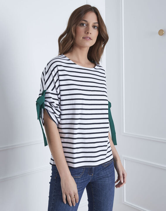 Portland white striped T-shirt with ties (2) - Maison 123