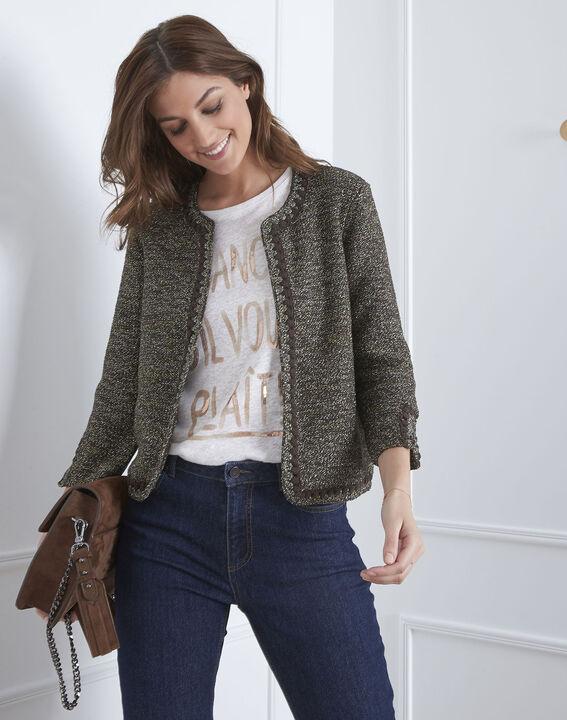 Amour khaki decorative knit cardigan (1) - Maison 123