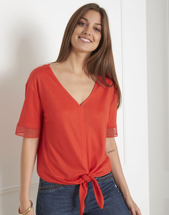 Pila red lace T-shirt with bow PhotoZ   1-2-3