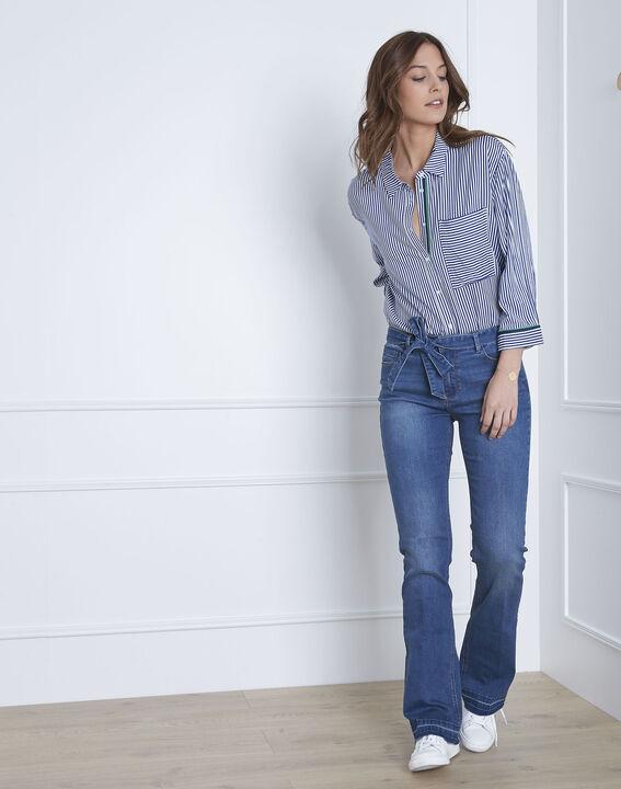 Coralie flared belted indigo jeans (2) - Maison 123