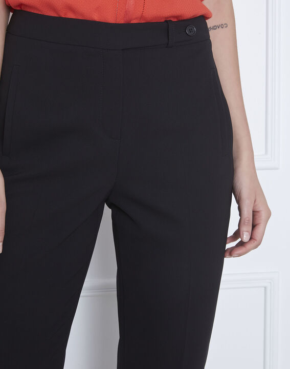 Hugo black straight-cut microfibre trousers with buttoned waistband (4) - Maison 123