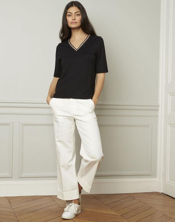Pluie black lurex V-neckline T-shirt (1) - Maison 123