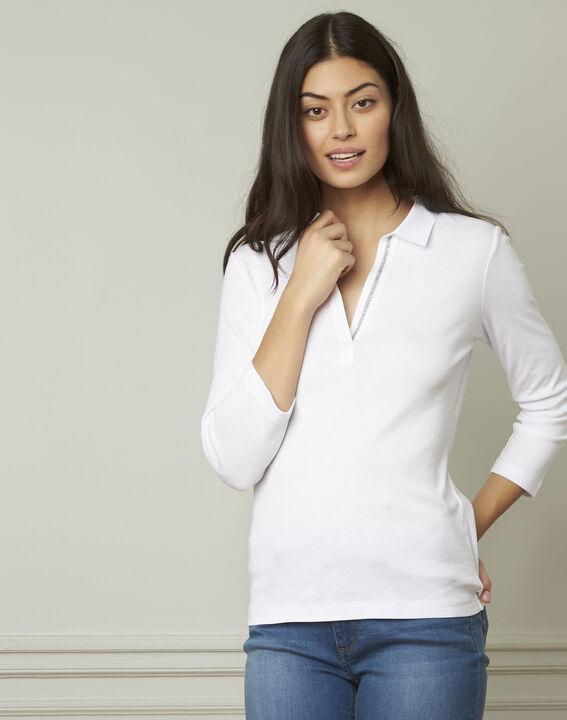 Primerose white lurex T-shirt with V neckline PhotoZ   1-2-3