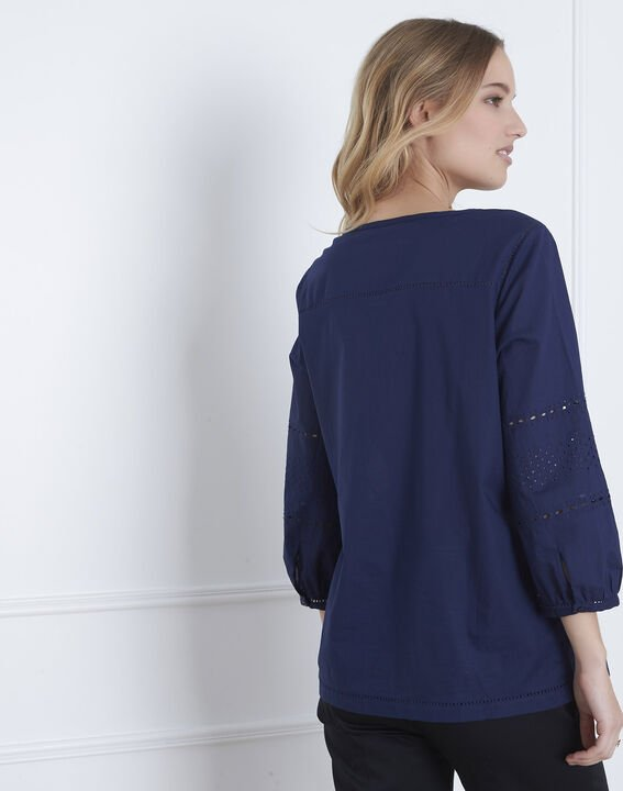 Verveine navy blouse with broderie anglaise (4) - Maison 123