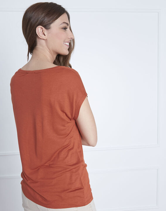 Round collared orange Pippa T-shirt (4) - Maison 123