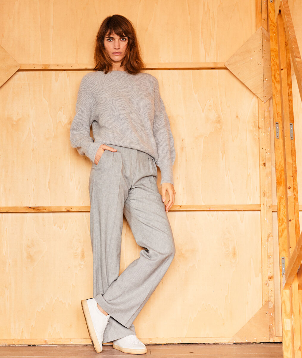 GALAXY heather grey wide-leg trousers PhotoZ | 1-2-3