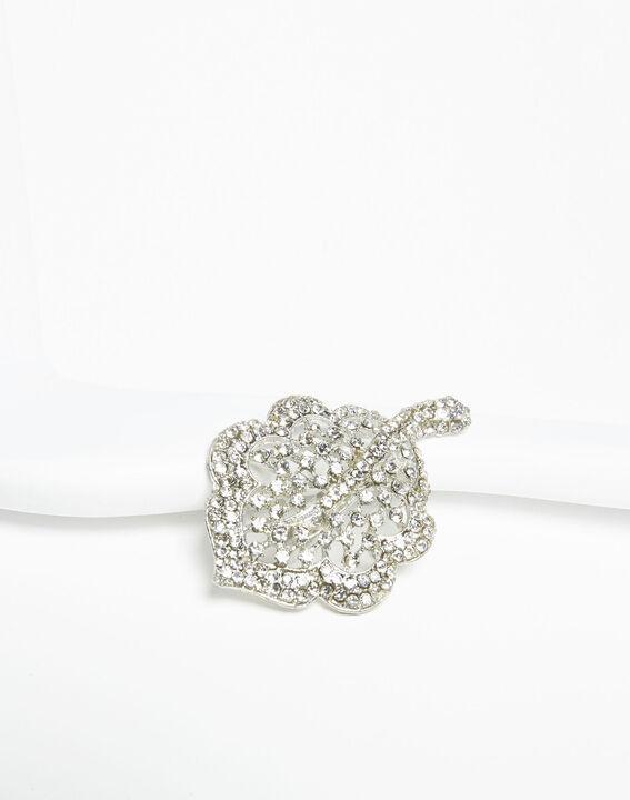 Xav silver leaf brooch with silver tone stones (1) - Maison 123