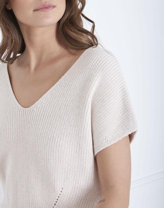 Annecy powder pink openwork knit jumper (3) - Maison 123