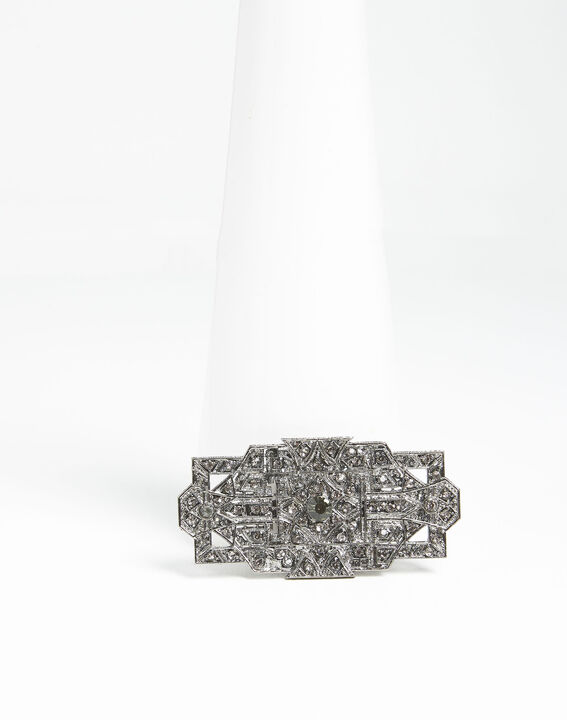 Xian silver plated brooch with black stones PhotoZ | 1-2-3
