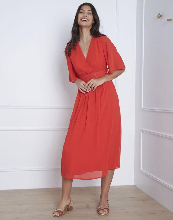 Helene red wrap-over macramé dress (1) - Maison 123