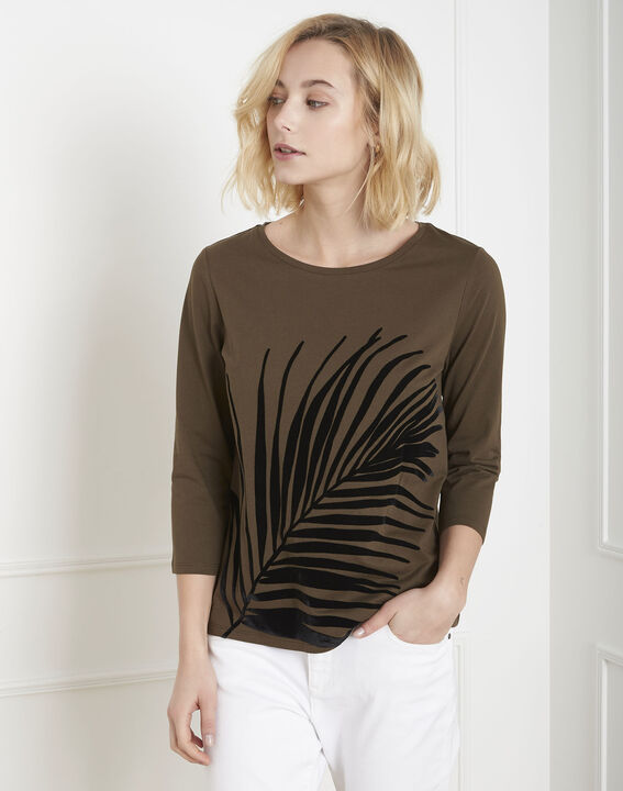 Perrine khaki T-shirt with palm print PhotoZ | 1-2-3