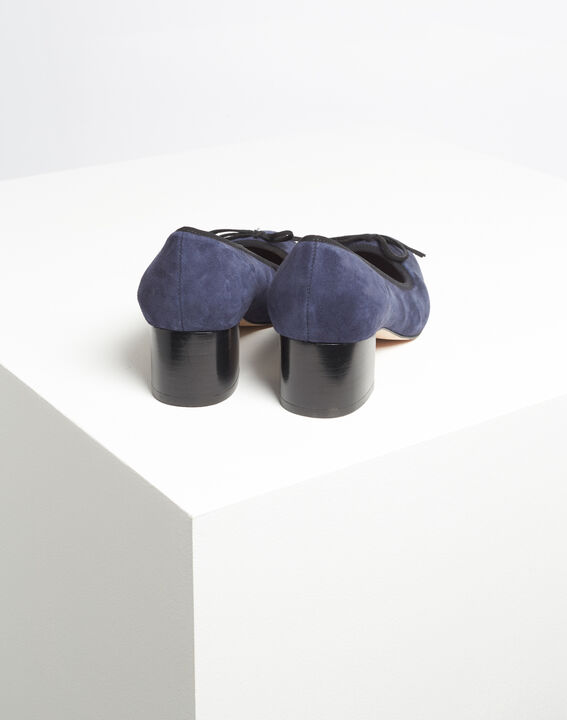 Kalista navy velvet-effect shoes with square heels (4) - Maison 123