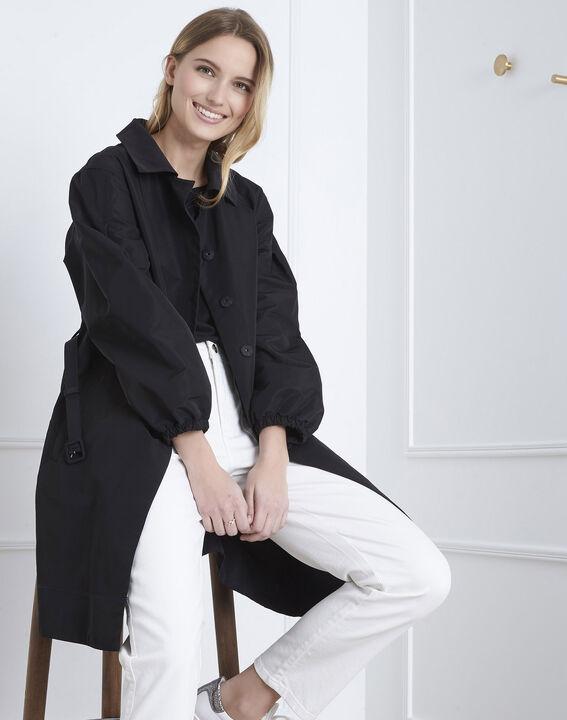 Daniela black belted trench coat (1) - Maison 123